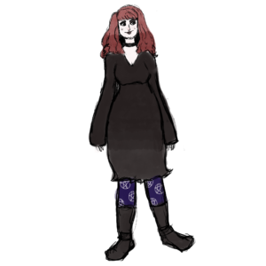 A drawing of a curvy young white woman with red hair, a black dress, purple tights with a pentacle pattern and knee-length black boots.