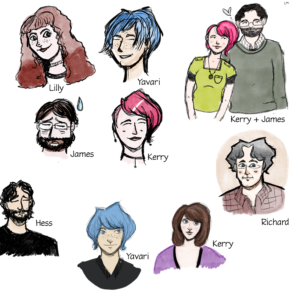 Drawings of members of Plures House: Lilly, Yavari, Kerry, James, Hess and Richard.
