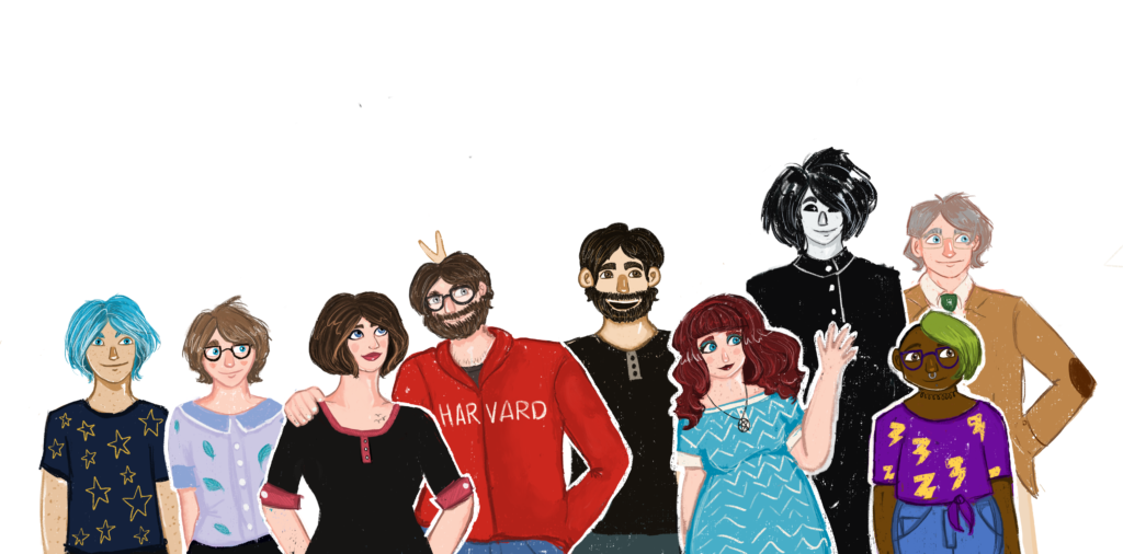 A drawing of several members of the Sylvan System standing together: Yavari, Noël, Kerry, James, Hess, MD, Lilly, Richard, Em